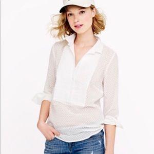 J Crew White Tuxedo Shirt Size S